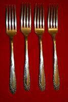 """Lot of 4 Vtg 1949 ENGLISH GARDEN Pattern Silverplate 7 1/2"""" Dinner Forks"""