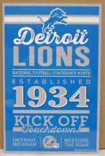 """DETROIT LIONS EST. 1934 RESTORE THE ROAR WOOD SIGN 11""""X17'' WINCRAFT"""