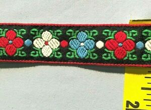 """1"""" Jacquard Ribbon Embroidered Flowers Trim Black Red White Blue 5 yds #RB21"""