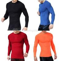 New Mens Compression Under Base Layer Tops Tight Long Sleeve T-Shirts Sport Gear