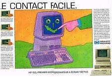 Publicité Advertising 1984 (2 pages ) Ordinateur à ecran tactile Hewlett-packard