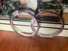 GSPORT BMX OIL SLICK ROLL CAGE RIM SET PAIR 2 RAINBOW JET FUEL RIMS WHEEL BIKE