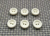 6 x White 13mm Vintage Plastic Buttons Coat Cardigan 2 Hole Baby Clothes