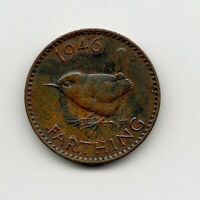 World Cpins - UK Great Britain 1 Farthing 1946 Coin KM# 843