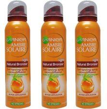 3 X Garnier 150ml Ambre Solaire Bronzer Self TANNING Spray Light Natural