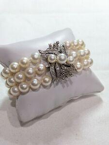 Vintage 3 Strand, 8mm Akoya Pearl Bracelet w/ Large Diamond 14K White Gold Clasp