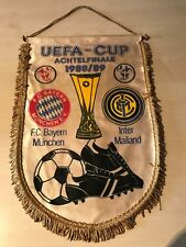 alt Wimpel FC Bayern München1988/89 UEFA Inter Mailand 40x30 cm Fußball