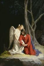 GETHSEMANE JESUS CHRIST ANGEL RELIGIOUS SPIRITUAL  VINTAGE CANVAS ART PRINT