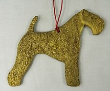 Irish Terrier Dog Christmas Ornament Hand Painted Resin Gold Color 4 inches