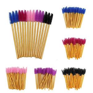 Nylon Gold Disposable Mascara Wands Brush False Lash Extension Applicator 50/100