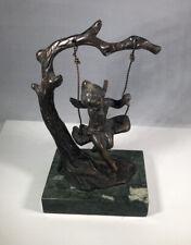 Original Auguste Moreau French Bronze Angel Fairy Cherub On Tree Swing Sculpture
