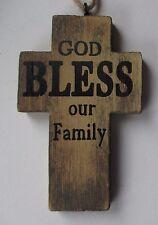 h God bless our family SIMPLE FAITH CROSS ORNAMENT Ganz