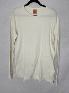 OreCal Mens Size XL Ivory Waffle Knit Long Sleeve Cotton Thermal Top