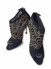 NEW, BRIAN ATWOOD BLACK BRONZE BEADED CAGE BOOTIES, 39, $1195