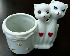 Vtg. Heart Cats White Ceramic Figurines with Vase Planter Container