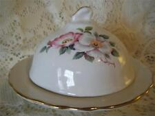 Vntg~Antq H-Painted House Webster Porcelain Briar Roses Domed Butter/Cheese Dish