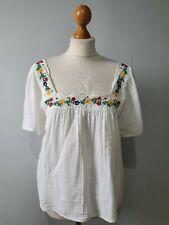 "Sezane ""Bea"" Blouse Embroidered Floral White prairie style Size 38 UK 10 12"