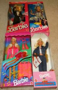 VINTAGE UNOPENED BARBIE LOT, SWIM N DIVE, CHUCK E CHEESE, ICE CAPADES, ARMY