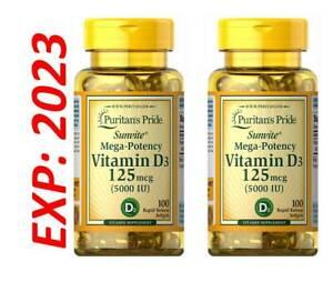 Vitamin D3 5000IU Mega-Potency 2X100= 200 Bone Health Max Strength USA Exp 2023