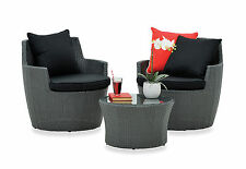 Wicker 3 Piece Outdoor Furniture Set Setting Balcony Table & 2 Chairs Garden