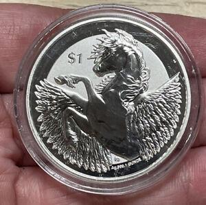 2018 $1 Pegasus Coin British Virgin Islands 1 oz. 999 Fine Silver BU Capsule