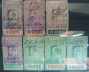 Ceylon Stamp Duty Revenue Edward V11 5c to 5r