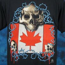 vintage 80s CANADA SKULL BARBED WIRE PAPER THIN T-Shirt M/L biker skeleton punk