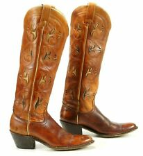 Acme Women's Vintage Knee High Tall Flower Inlay Cowboy Boots Boho Festival 6.5