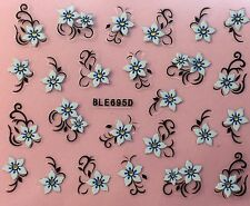 Nail Art 3D Stickers Decals White & Blue Flowers BLE695D