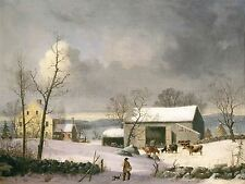 GEORGE HENRY DURRIE AMERICAN WINTER COUNTRY OLD ART PAINTING POSTER BB5458A
