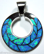 Blue Fire Opal Inlay Genuine 925 Sterling Silver Disc Pendant For Necklace