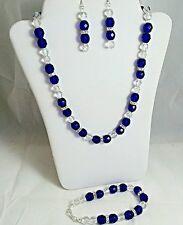 Cobalt & Crystal Czech Beads & swarovski Spacers Necklace Set NWOT