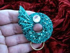 #E-456)  Green spot Eyeglass BRASS pin pendant ID badge holder loop glasses