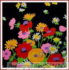 BonEful Fabric FQ Cotton VTG Crantex Retro Hippie Large Flower Daisy Gothic RARE