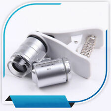 Clip 60X Zoom Magnification LED Pocket Microscope Jeweler Magnifier Glass Loupe