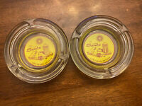 """Vintage Las Vegas Casino Hotel Ashtray The Sands Round Clear Gold & Red 4"""""""
