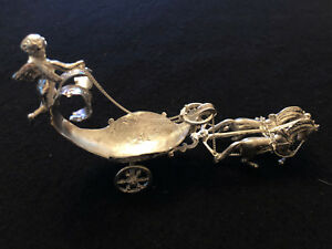 19th c German Silver Cherub riding two horse drawn carriage salt celler/spoon