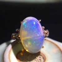 Natural Welo Opal Rainbow Multicolour &  925 Sterling Silver Wedding Ring Women