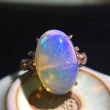Natural Welo Opal Rainbow Multicolour & Sapphires 925 Sterling Silver Ring