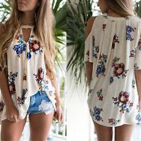 EP_ Women's Floral Print Loose Beach Casual T-Shirt Blouse Cold Shoulder Top Pop
