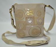 Coach Madison Mia Inlaid Op Art Beige Leather Zip Small Swingpack Bag 44299