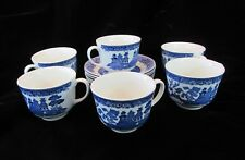 Vintage Blue Willow Ridgway Tea Cup and Saucers Set of 6 England