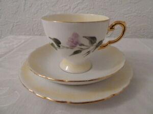 Vintage 'Tuscan' bone china tea set trio (tea cup, saucer and plate)