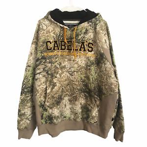 Cabela's Men's Camo Hunting Style Pullover Sweatshirt Hoodie Sz XL Spellout Logo