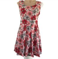 Paper Scissors Red Floral Dress Size 14 Fit Flare Sleeveless Collarless