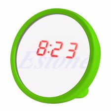 LED Digital Calendar Time Alarm Clock Beauty Mirror For Travel Outdoor