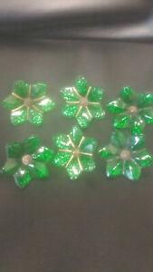 6 Vintage Green Glass Curtain Tie Backs Hardware