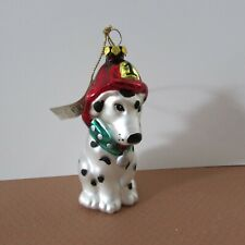 Midwest Sporting a Fireman's had color Dog Tag Dalmatian Glass Ornament