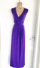 Beautiful KALIKO Purple Draped/ Pleated Front/ Jersey Maxi Dress Uk 12/ D 38/