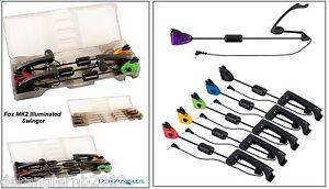 Fox MK2 Illuminated Swinger Set 3 Rod 4 Rod Ruten Box Case leer Swinger 6 Farben